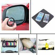 Combo of Car Armrest Console-Beige Universal, DVD Holder, Freshner, Blind Spot Mirror and Non-Slip Dash