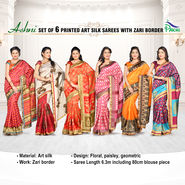 Ashni Set of 6 Printed Art Silk Sarees with Zari Border