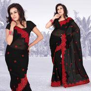 Atrous black faux georgette saree with blouse