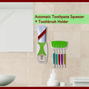Toothpaste Squeezer with 5 Toothbrush Holder
