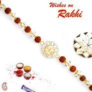 Rudraksh & AD Studded Swastik Motif Bracelet Rakhi