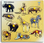 Baby Flocks Animal Fun Puzzle Educational Wooden Toy - Beige