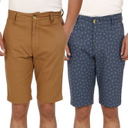 Pak of 2 Blimey Regular Fit Cotton Shorts_Bf59 - Brown & Blue