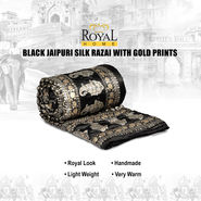 Black Jaipuri Silk Razai with Gold Prints