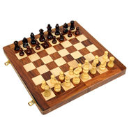 AVM 30cm Folding Chess Board Set (5cm Border, Brown Yellow)