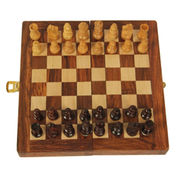 AVM 7inch Magnetic Folding Chess Board Set With Coins 1.5 inch Chess Board Brown Yellow)