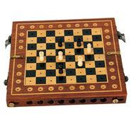 AVM (15 x 10cm) Folding Side Pack Chess Board  (1.27cm Border, Black Brown Yellow)