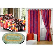 Storyathome Combo Of 100% Cotton 1pc Double Bedsheet 2 pc Door Curtains With 1 Pc Door Mats-CN1264_DNR3014-DN1251