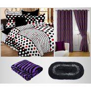 Combo of 100% Cotton Double Bedsheet, Blanket, Curtain Set & Door Mat-CN_1227