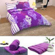 Storyathome 6 pc Combo 1 Double Bed Sheet 2 Pillow Cover 1 Bath Towel & 2 Hand Towel-CN_1237-TW1203-L-TW1203-M