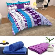 Storyathome 6 pc Combo 1 Double Bed Sheet 2 Pillow Cover 1 Bath Towel & 2 Hand Towel-CN_1246-TW1202-L-TW1202-M