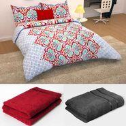 Storyathome 6 pc Combo 1 Double Bed Sheet 2 Pillow Cover 1 Bath Towel & 2 Hand Towel-CN_1256-TW1218-L-TW1218-M