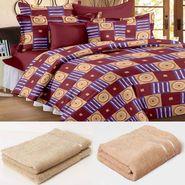 Storyathome 6 pc Combo 1 Double Bed Sheet 2 Pillow Cover 1 Bath Towel & 2 Hand Towel-CN_1263-TW1216-L-TW1216-M