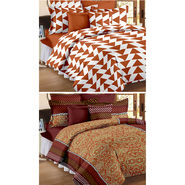 Set Of 2 Double Bedsheet With 4 Pillow Cover-CN_1405-CN1233