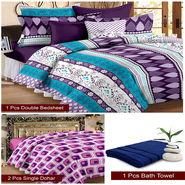 Storyathome Combo Of 1 Pc Cotton Double Bedsheet With 2 Pillow Cover, 2 Single Dohar/AC Micro Fiber Quilt , 1 pc Cotton Bath Towel-CN_1432-FB_2-1223S-TW1216-X