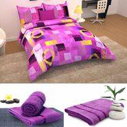 Storyathome 6 pc Combo 1 Double Bed Sheet 2 Pillow Cover 1 Bath Towel & 2 Hand Towel-CN_1433-TW1207-L-TW1207-M
