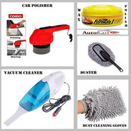 Combo of Car Duster + Wax Polish + Vacuum Cleaner + Microfiber Gloves + Car Polisher