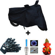 Combo of Bike Body Cover + ProBiker Gloves + Flash Wheel Lights + Hanging Ganesha for Mahindra Mojo 300 COMBOBKBLACK-MHNDR5