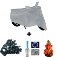 Combo of Bike Body Cover + ProBiker Gloves + Flash Wheel Lights + Hanging Ganesha for Hero HF Dawn COMBOBKSilver-HERO4