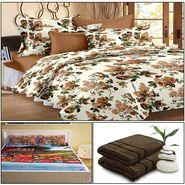 Storyathome 8 Pcs Combo Of Premium Quality Cotton Double Bedsheet, 3D Print Double Bedsheet And Cotton Bath Towels-CR_1404-PC1402-TW1208-X