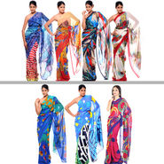 Carah Set of 7 Printed Georgette Sarees (7G3A)
