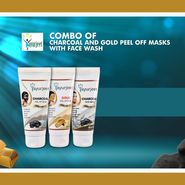 Charcoal And Gold Peel Off Masks with Face Wash