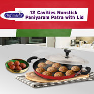Chefmaster 12 Cavities Nonstick Paniyaram Patra with Lid