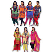 Collection of 7 Mughal Inspired Printed Dress Material (7PDM11)