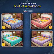 Colours of India Pack of 4 Bedsheets (4DDBS3)