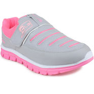 Columbus Synthetic Leather Grey & Pink Casual Shoes -nsdc74