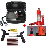Combo of Car Tyre Inflator + Hydraulic 2.0 Ton Jack + Tubeless Tyre Puncture Rep-inflator combo