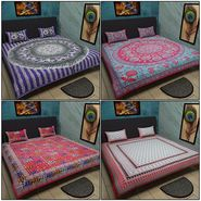 Set of 4 Jaipuri Print 100% Cotton Double Bedsheets with 8 pillow covers-bancom-1