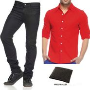 Combo of Branded Stylish Jeans + Plain Full Sleeves Shirt_ph1007098