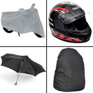Rainy Day Combo - Bike Body cover +Umbrella+Helmet