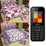 Set of 2 Queen Size Cotton Bedsheet with Free Mobile-osai-5