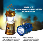Combo of 2 Rechargeable Solar Lantern with Powerbank