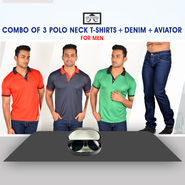 Combo of 3 Polo Neck T-Shirts + Denim + Aviator for Men by Mr. Tusker