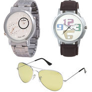 Combo of Dezine 2 Analog Watches + 1 Aviator Sunglasses_DZ-CMB111