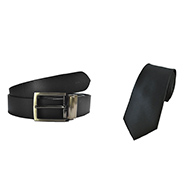 Combo of Royal Son Leather Belt + Silk Tie_WHO4888