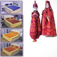 100% Cotton Pack of 4 Gold Print Bedsheets Set + 2 Free Hand Made Jaipur Puppets (4DDBS11)