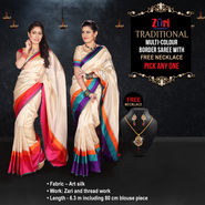 Traditional Multi-colour Border Saree with Free Necklace - Pick Any One