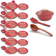 Set of 30 Cutting Edge Microwavable Dinner Round Set - Red