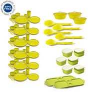 Combo of Cutting Edge 67 Pcs Complete Kitchen Set Air Tight Storage Containers + Dinner Set - Light Green