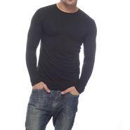 Delhi Seven Full Sleeves Round Neck Cotton T Shirt For Men - Black