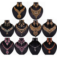 Kriaa Gold Plated Multicolor Set of 10 Jewellery Combo_1002335
