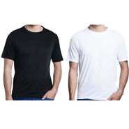 Pack of 2 Oh Fish Plain Round Neck Tshirts_Df2blkwht - Black & White
