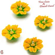 Yellow Flower Wax Candle Diyas- Set of 4