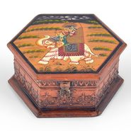 Little India Hand Painted Octagonal Wooden Art Jewelry Box 261
