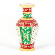 Little India Golden Minakari Jali Cut Work Colorful Flower Vase 403