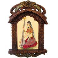 Little India Rajasthani Lady Playing Sitar Wooden Jharokha Gift 438